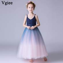 Vgiee Girls Dresses for Party and Wedding Birthday Ankle-Length Sleeveless Princess Dress Girls Kids Little Girl Clothes CC677 cenicienta girls clothes bare shoulder o neck sleeveless princess dress for girl birthday party and wedding children clothing