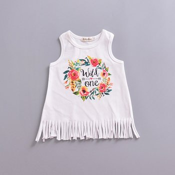 Ins Explosions Foreign Trade Children'S Skirt Summer Girls Letter Print Tassel Dress Baby Sleeveless Vest Skirt tribal print tassel dress