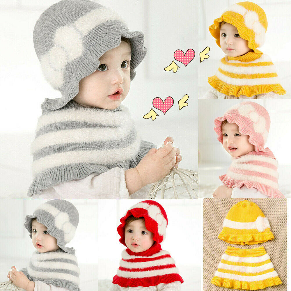 Cute Toddler Kids Girl And Boy Baby Winter Warm Crochet Knit Hat Beanie Cap + Scarf