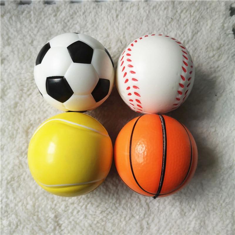 4pcs 6.3cm Stress Balls Basketballs Footballs Baseballs Tennis Soft PU Foam Squeeze Antistress Relief Toys for Kids Children