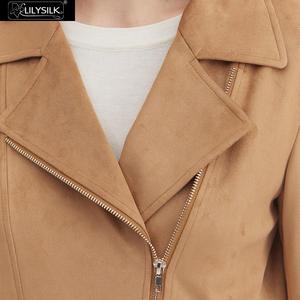 Image 4 - LilySilk מעיל Moto האופנה זמש נשים חדש משלוח חינם