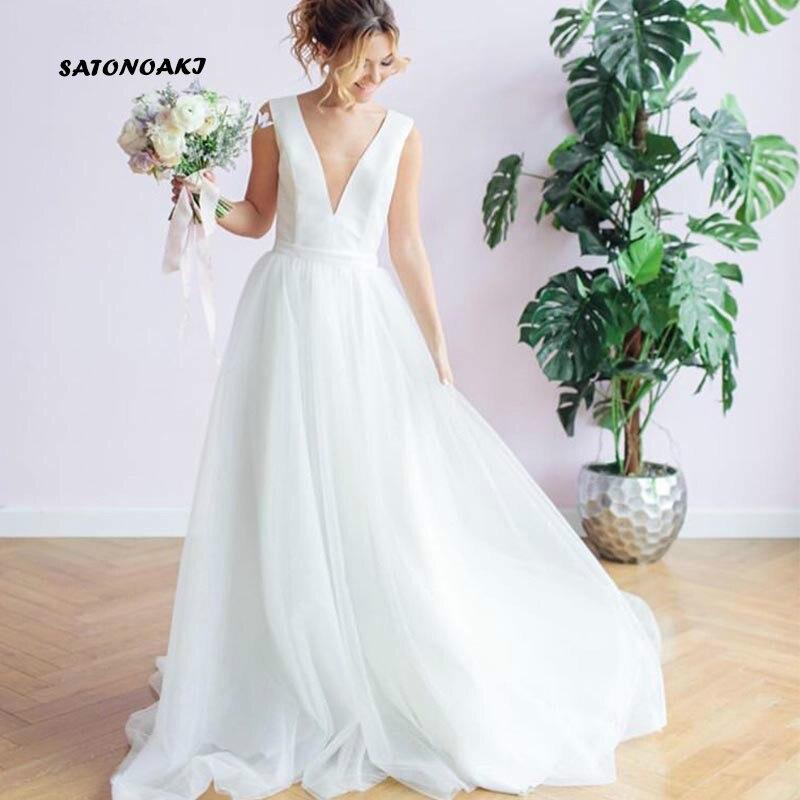 SATONOAKI Vintage Princess A-line Wedding Dresses Cap Sleeves Appliques Bridal Dress Covered Button Sweep Train Vestido De Novia