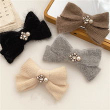 Plush Velvet Bowknot Barrettes for Women Bling Crystal Rhinestone Simulated Pearl Cross Knotted Big Clip Hairpins Accessories