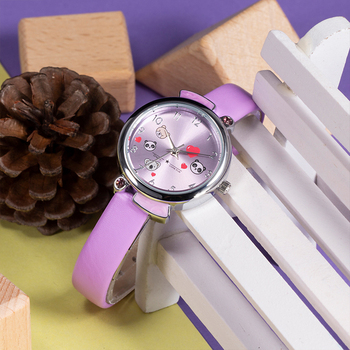 Kids Watch KDM 2019 Fashion Casual Student Girl Boy Watch Cute Cartoon Panda Waterproof Genuine Leather Watch For Kids Children 3