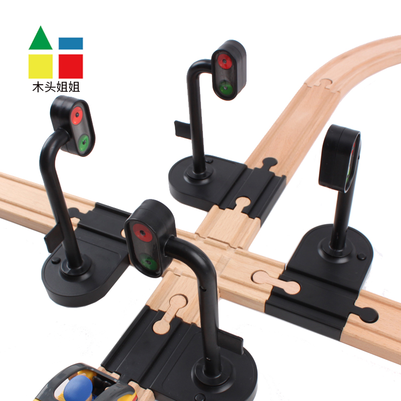 Scene Rail Transit Traffic Lights Signal Light Accessories Wooden Track Magnetic Train Accessories Compatible WithTrains 1PCS