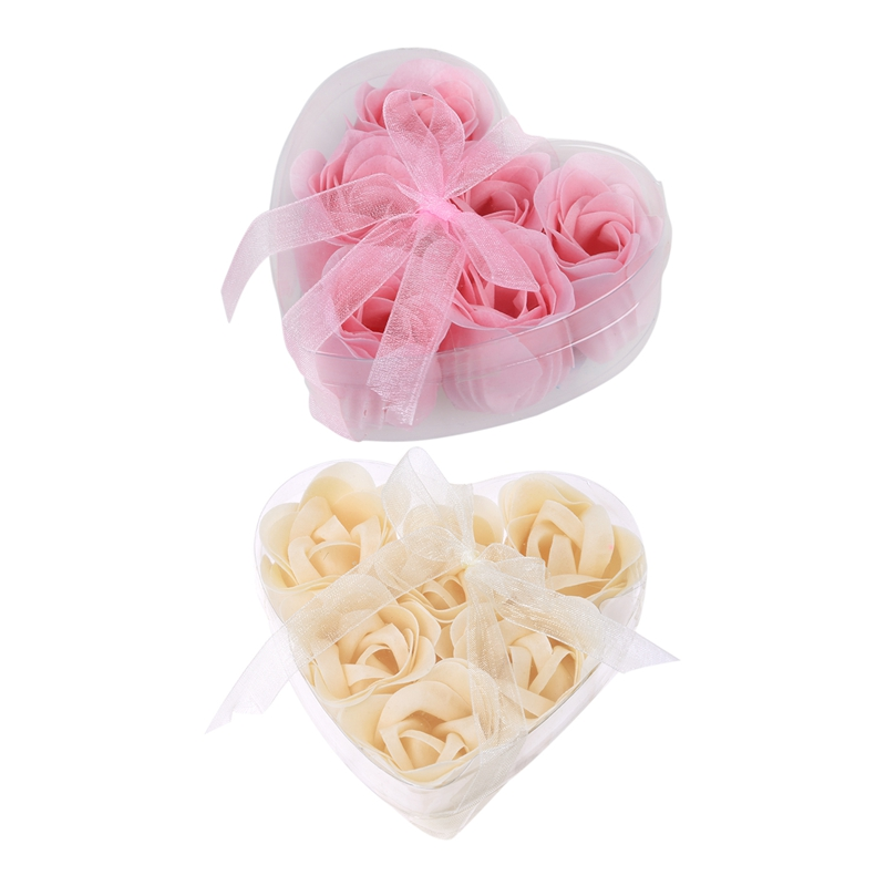 12 Pcs Petal Soap Bathing Shower Rose Flower Bath Soap Petals With Clear Heart Shaped Box, 6 Pcs Light Pink & 6 Pcs Off White