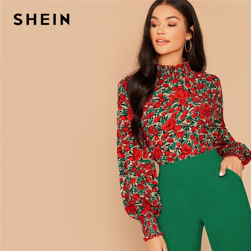 SHEIN Floral Print Shirred Neck Elegant Blouse Top Women Spring Autumn Stand Collar Bishop Sleeve Button Back Blouses And Tops