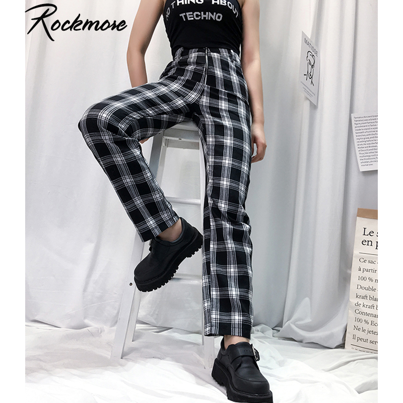 Rockmore Plaid Bodycon Joggers Flare Pants Women Harajuku Boot Cut Streetwear Trousers Checkered High Waist Pants Sweatpants