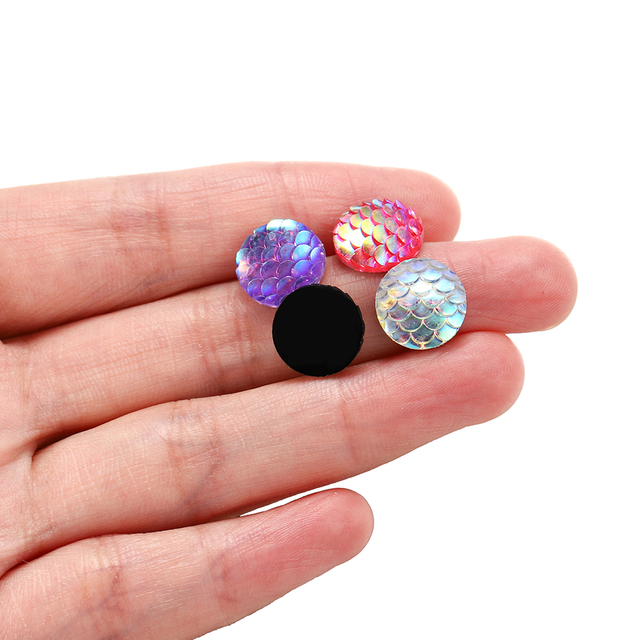 50Pcs/lot 12mm Mermaid Fish Scale Round Flat Back Resin Cabochons For Diy Jewelry Making Finding Supplies Accessories Pendant