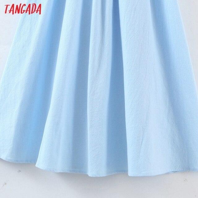 Tangada Women Solid Color Backless Beach Midi Dress Strap Sleeveless 2021 Fashion Lady Dresses Vestido 1M32 5