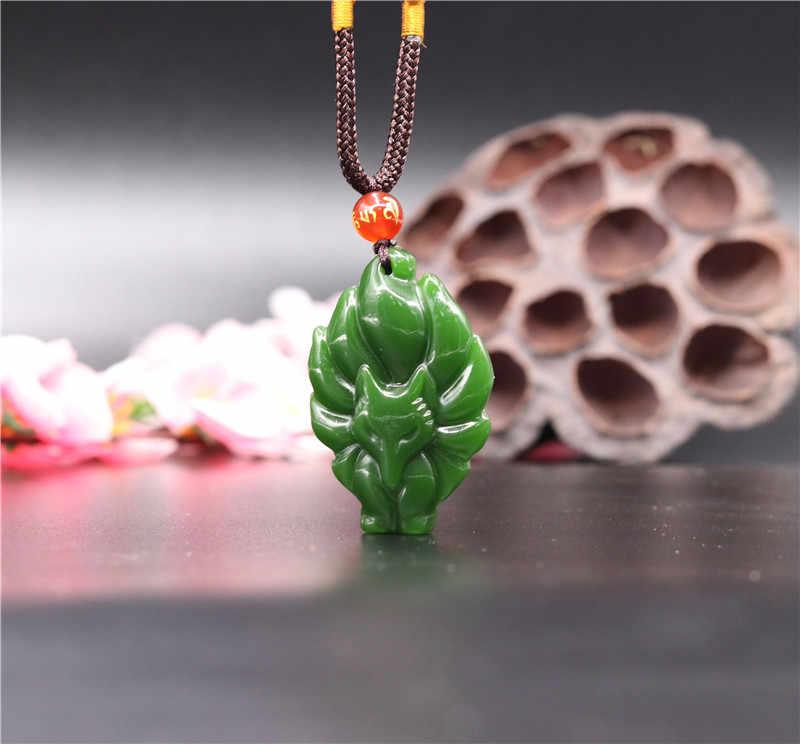 ธรรมชาติสีเขียวหยก Seven-tailed Fox จี้สร้อยคอสร้อยคอสร้อยคอสร้อยคอสร้อยคอสร้อยคอสร้อยคอสร้อยคอสร้อยคอสร้อยข้อมืออัญมณีแฟชั่นอุปกรณ์เสริมมือแกะสลัก Man Luck ของขวัญ Amulet ใหม่
