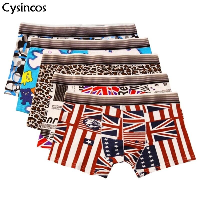 Cysincos Underwear Shorts Boxers Interior Male Plus-Size Cotton Fashion Soft-Print New