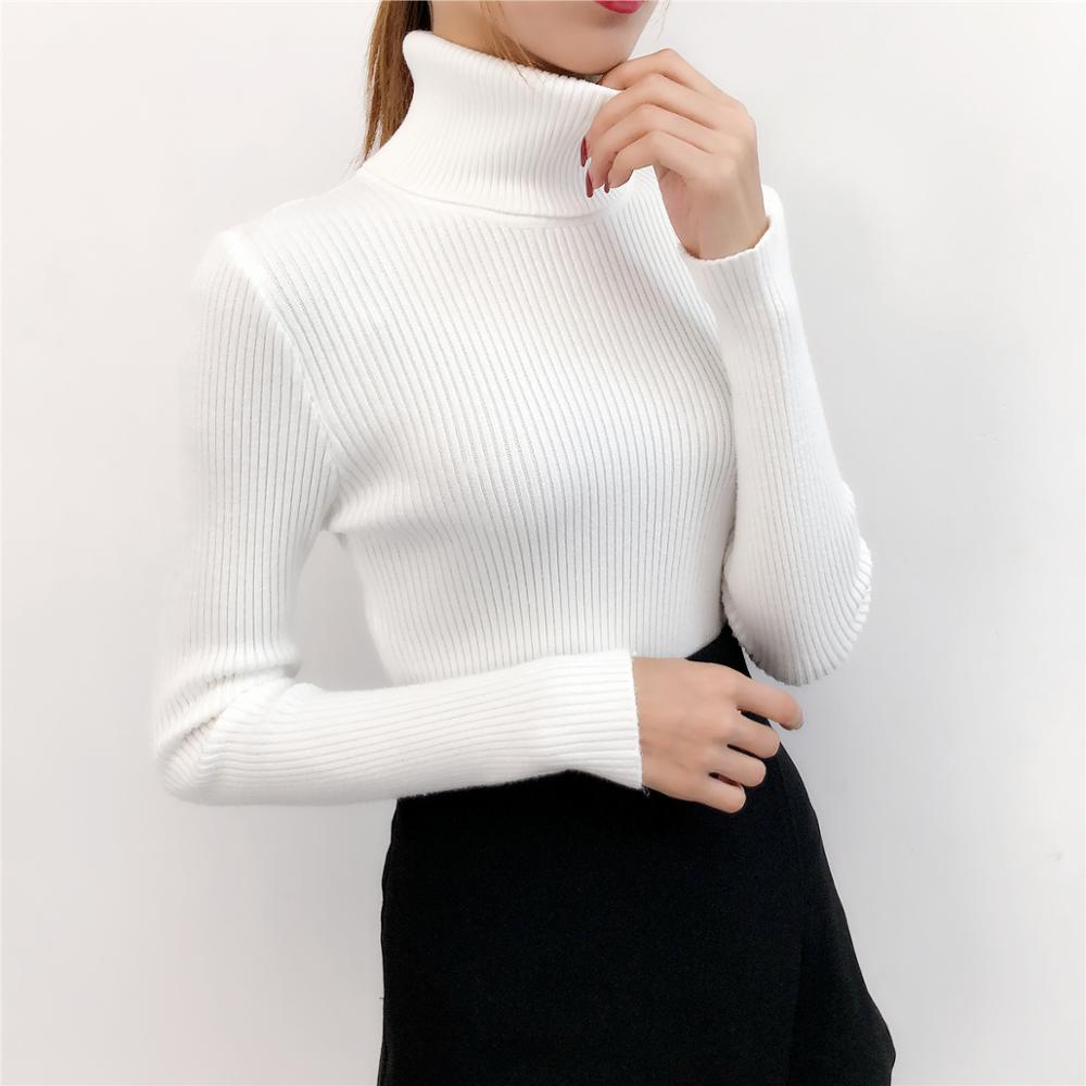 Women knitted cotton 2019 Women Sweater Autumn and Winter New Turtleneck Sweater Pullover Warm Soft Full Sleeve