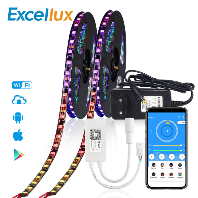 12V WS2811 Addressable Led Strip Dream Color WIFI APP Controller 5050 RGB WS2811 IC 30Leds 60Leds Led Pixel Strip 1M 2M 3M 4M 5M