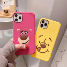 Suitable for iPhone 11 Pro Disney cartoon phone case Xs Max XR X Winnie the Pooh cute cartoon 6 7 8 Plus anti-fall silicone case(China)