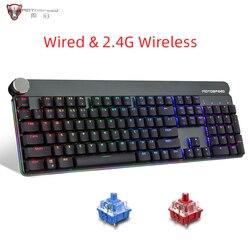 Motospeed GK81 Gaming Mechanical Keyboard 2.4G Wireless RGB Backlit Metal Slim Keyboards Russian for Computer gamer desktop PC