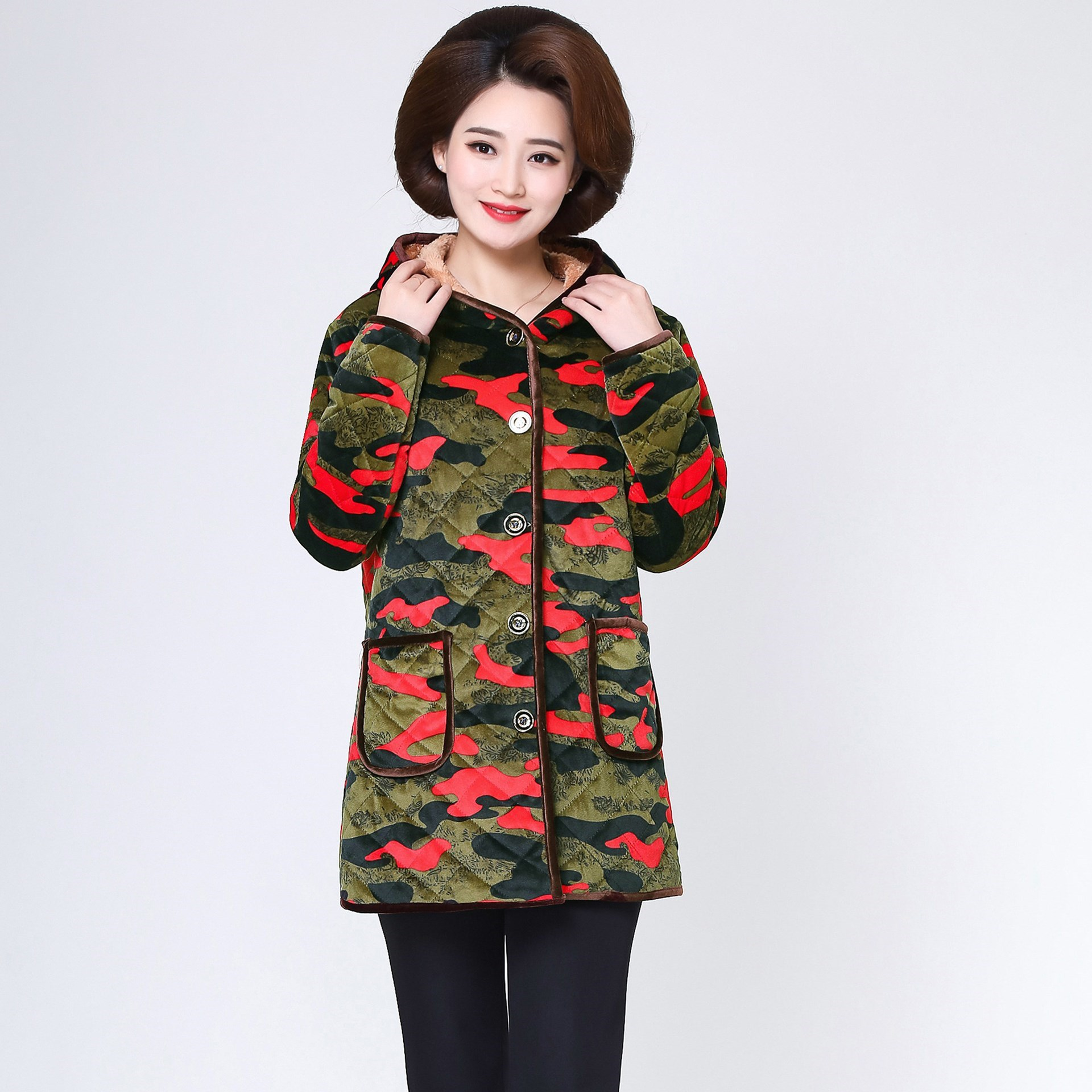 Coat Korean style Style Kitchen Mom Middle aged Large Size Overclothes Extraordinary Women's Winter Brushed And Thick Adult Apro|  - title=
