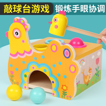 Childrens wooden toy hen laying eggs anti-real game, 4 colored balls, egg knocking, table games, baby coordination, toys