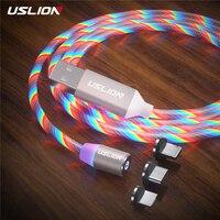 USLION 3 in 1 spina magnetica LED cavo di illuminazione ricarica rapida tipo C cavo Micro USB cavo di ricarica cavo per iphone Samsung Huawei