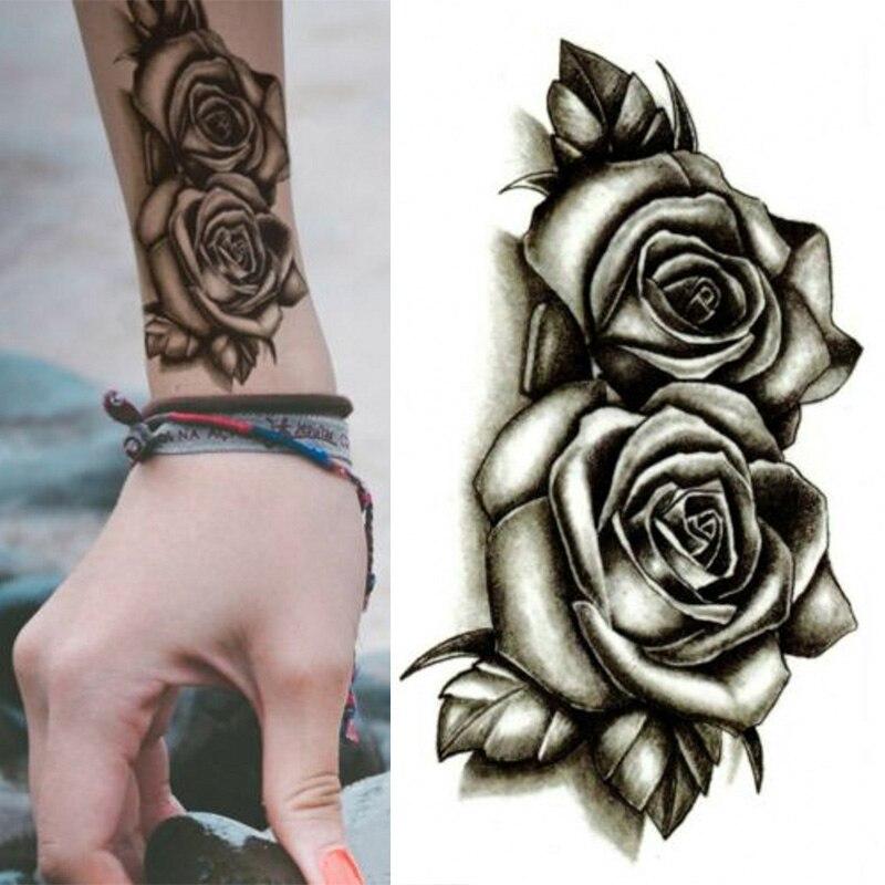 2019 New 3D Black Henna Rose Temporary Tattoos For Man Women Tattoo Sticker Waterproof Flower Leaf Tatoos Body Art Kit