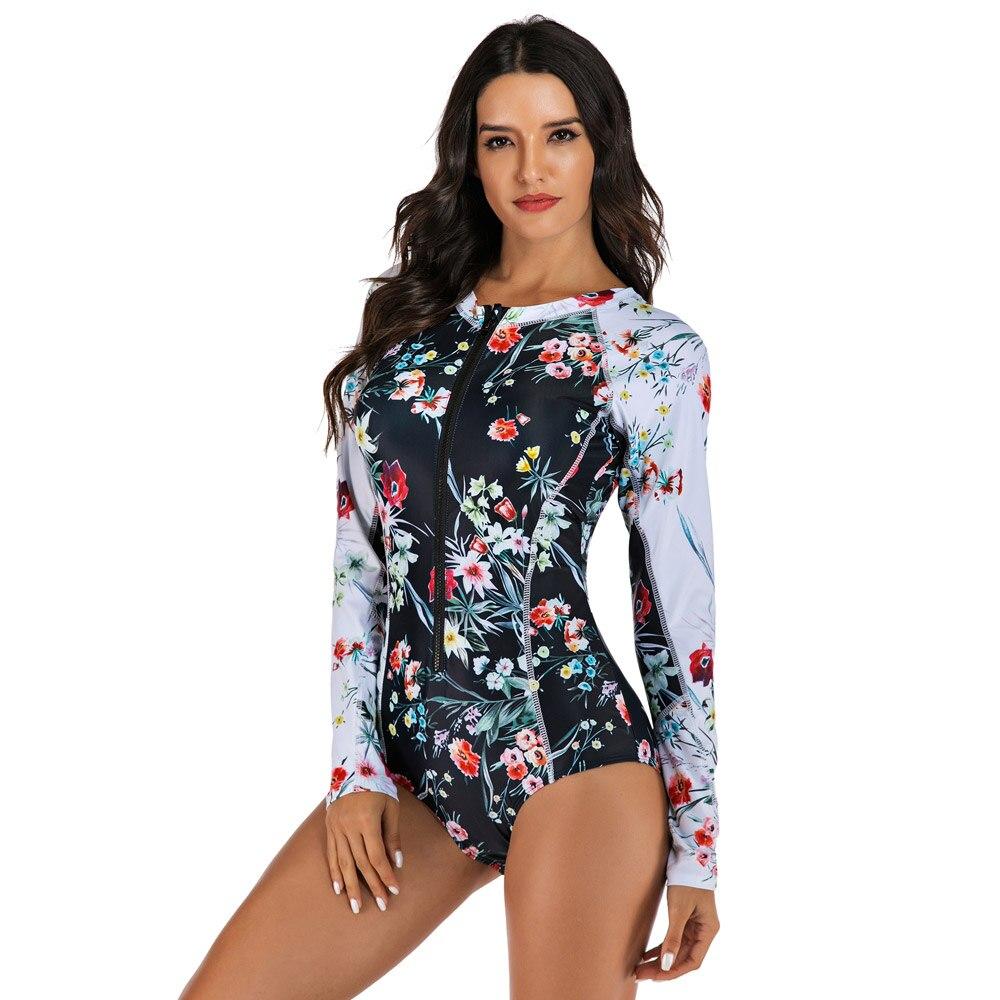 Цельный купальник с цветочным принтом, одежда для плавания с длинным рукавом, женский купальный костюм, ретро купальник, винтажный Цельный купальник для серфинга - Цвет: As Picture