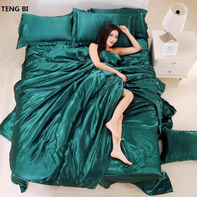 New2020 100% Pure Satin Silk Bedding Set,Home Textile King Size Bed Set,bedding,duvet Cover Flat Sheet Pillowcases Wholesale