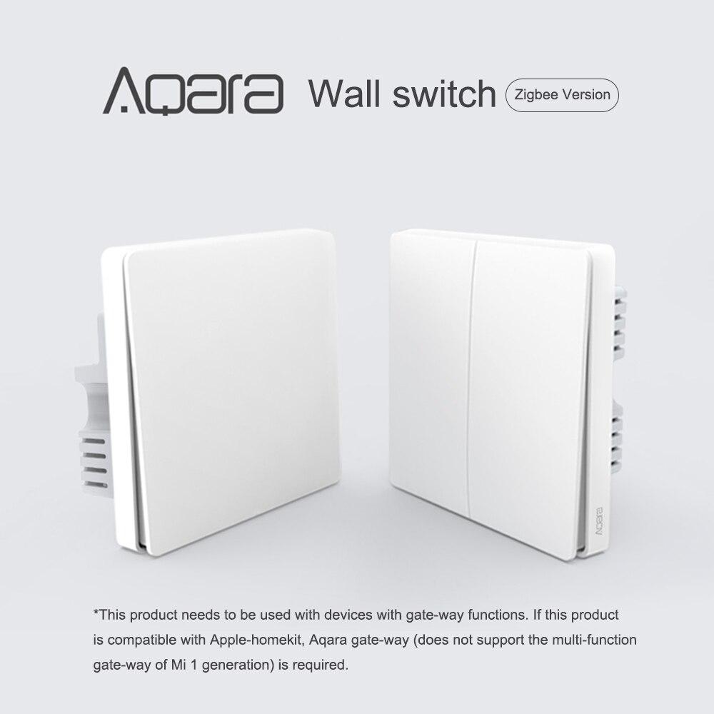 Aqara interrupteur mural ligne intelligente feu fil lumière télécommande sans fil clé interrupteur mural sans neutre pour Xiao mi maison APP