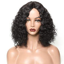 Короткий кудрявый боб парики для женщин натуральный цвет бразильский с средней частью бесклеевой не Реми человеческих волос парик