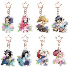 13 Styles Anime Demon Slayer Kimetsu No Yaiba Keychain Acrylic Ghost Blade Pendants Cute Cartoon Bag Key Chains Cosplay Jewelry