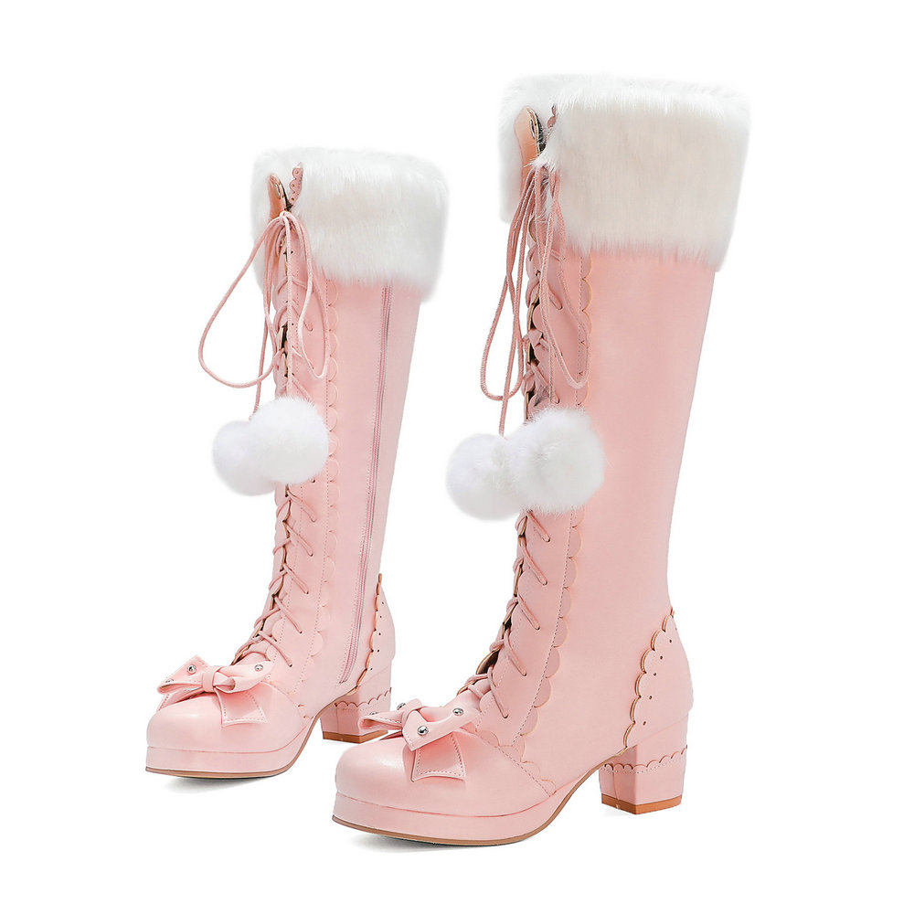 Lolita High Boots Winter Warm Fur Neck Girls Cosplay Party JK Princess Shoes Lace Up Bowtie Chunky Heel Side Zipper PU Leather