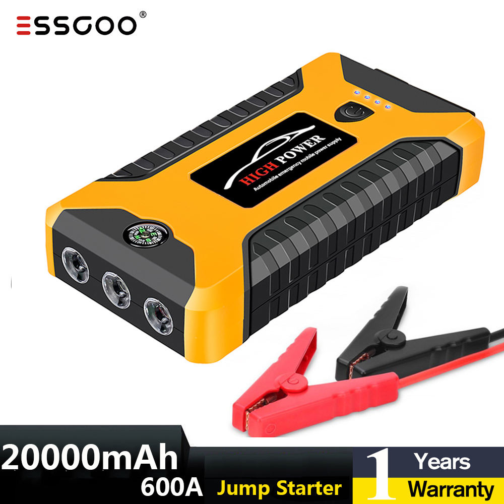 Car Jump Starter Power Bank 20000mA 600A 12V Output Portable Emergency Start-up Charger for Cars Booster Battery Starting Device