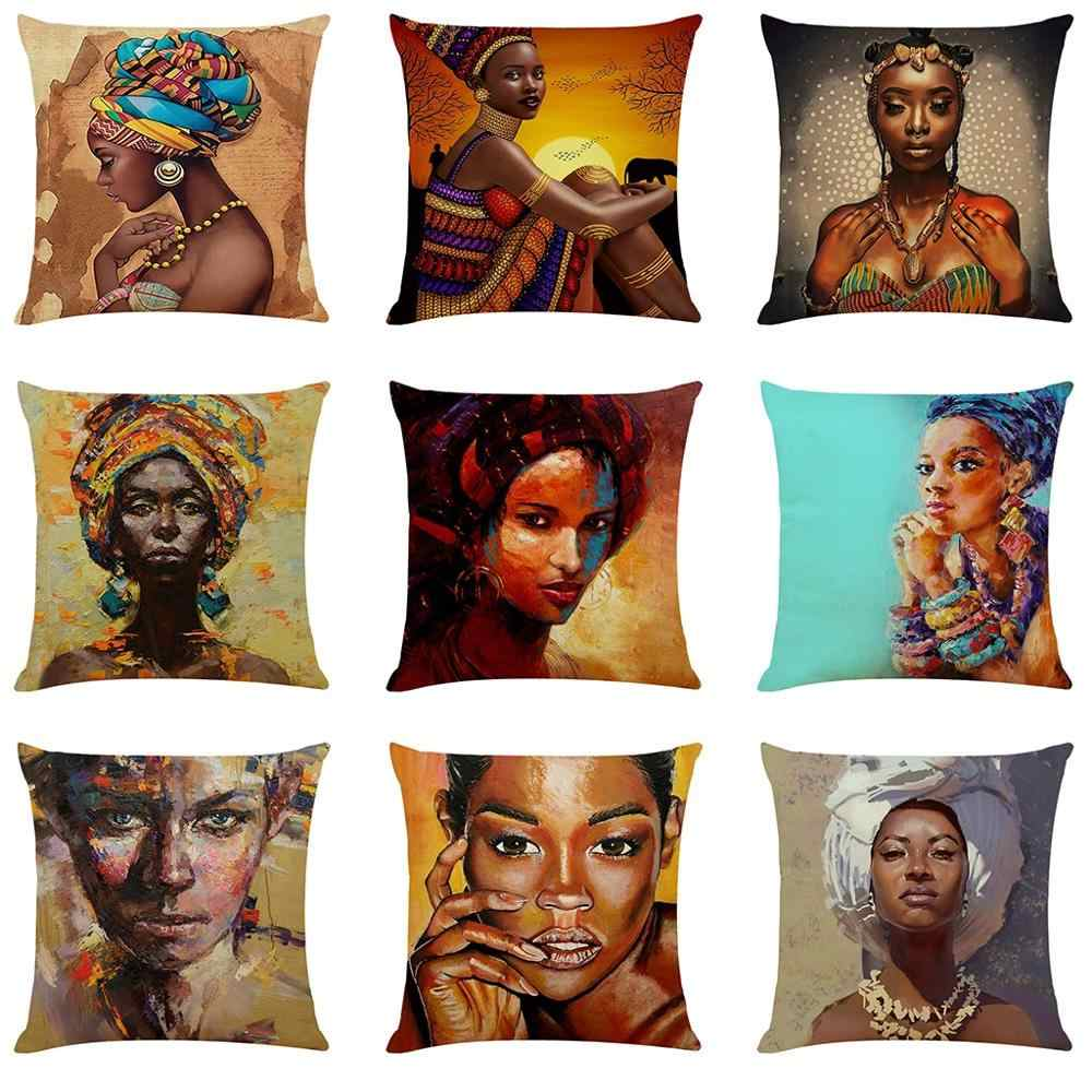 Wanita Afrika Gaya Dicetak Bantal Kursi Sarung Bantal Dekorasi Rumah Wanita Afrika Sarung Bantal Sarung Bantal Lempar untuk Kamar Tidur