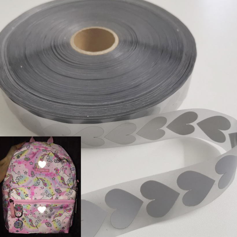 Width 25mm Safety Reflective Heat Transfer Vinyl Film DIY Silver Iron On Reflective Tape For Clothing