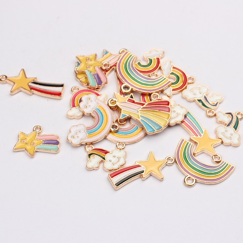 10pcs/lot Zinc Alloy Enamel Charms Enamel Rainbow Meteor Charms For DIY Jewelry Making Finding Accessories
