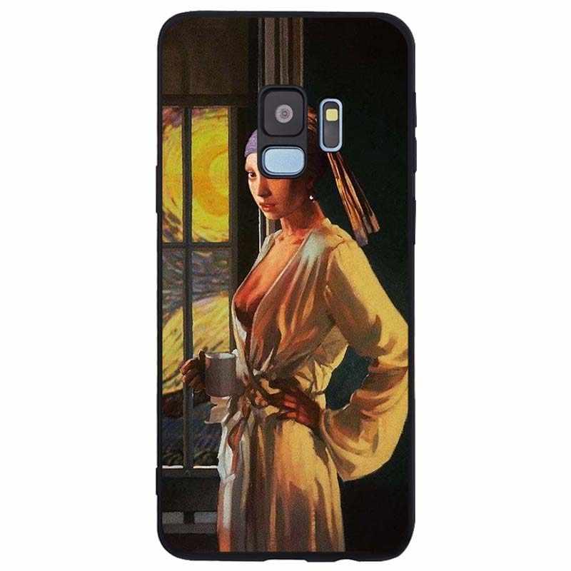 Van Gogh Mona Lisa Funny Art funda de silicona suave TPU funda de teléfono negra para Samsung Galaxy Note 8 9 s6 S7 borde S8 S9 S10 Plus