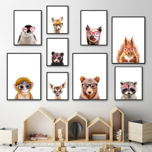 Glasses Lion Monkey Bear Hedgehog Wall Art Print Canvas Painting  Nordic Posters And Prints Pictures Baby Kids Room