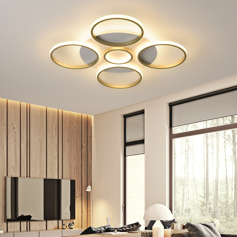 Modern personality luxury ring-shaped golden acrylic LED ceiling light, suitable for living room bedroom lighting decoration 1