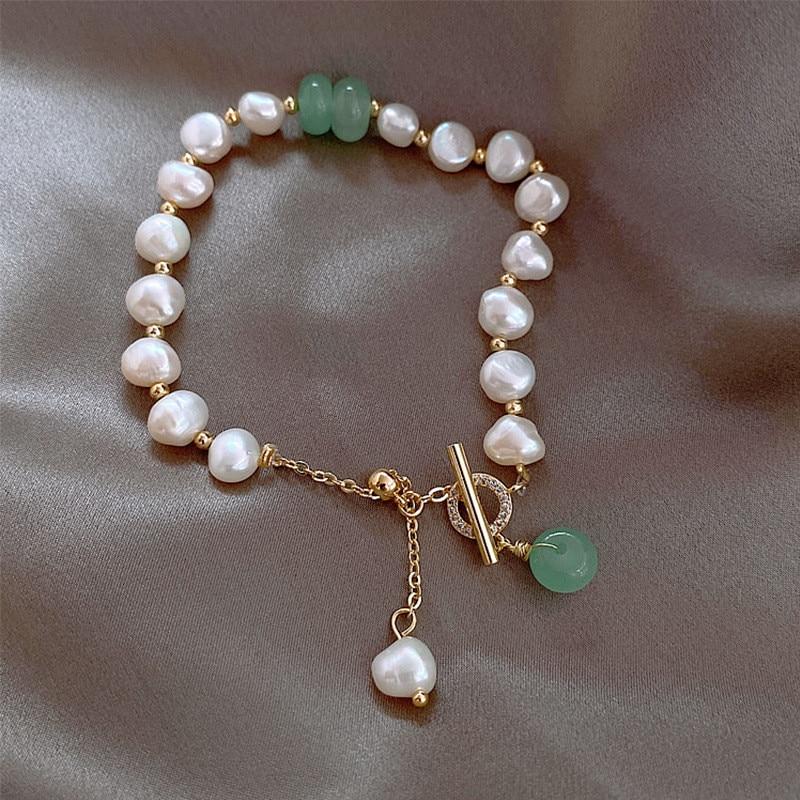 Clássico moda natural pedra pérola pingente pulseira para mulher requintado nova sorte manguito pulseira aniversário presente jóias de luxo