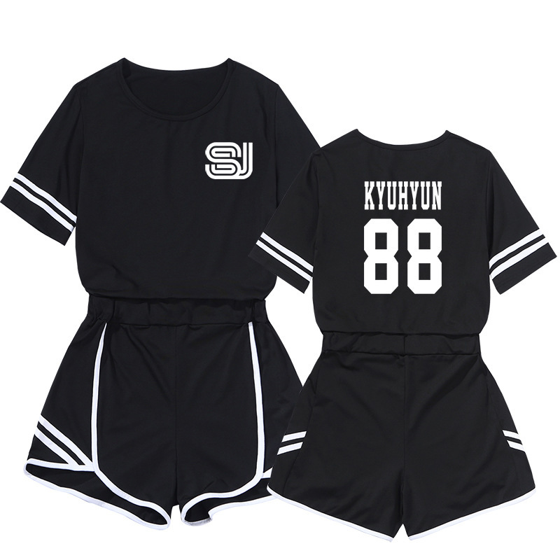 Celebrity Style Two-Piece Set Sports Navel Set WOMEN'S Dress Casual Slim Fit Short Skirt Super Junior