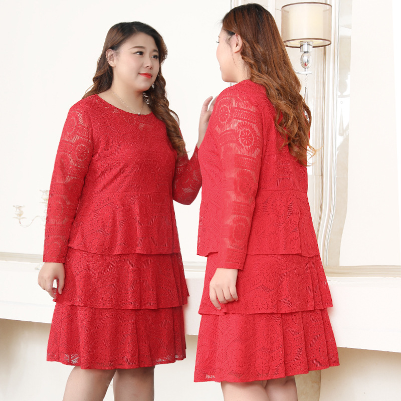 Extra Large WOMEN'S Dress 200 260 By Age Fat Mm Cake Dress Party Formal Dress Western Style Tibetan Meat Lace Dress