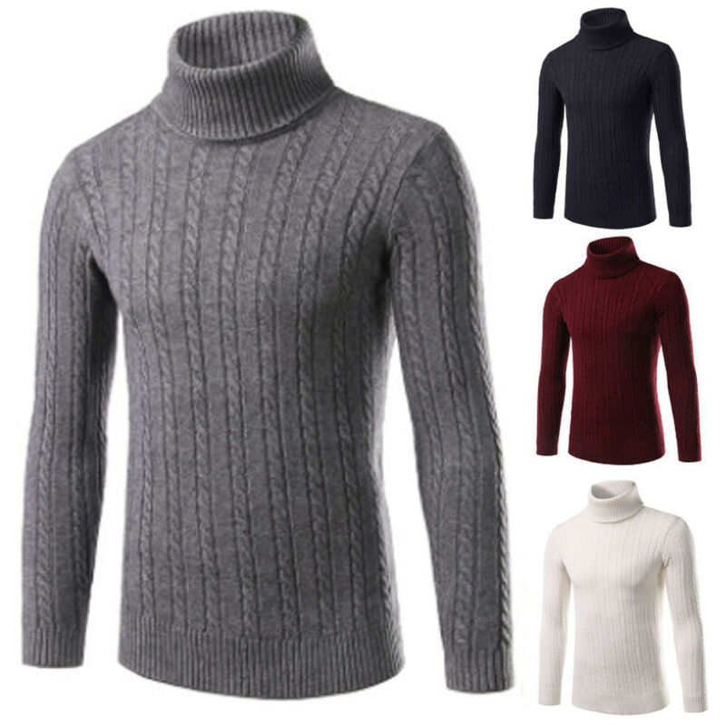 Men Roll Turtleneck Winter Sweater Warm Pullover Tops Long Sleeve Slim Knitted Solid Autumn Sweaters Hot