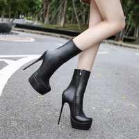 36-46 botas femininas sapatos de salto alto sapatos de moda mulher plataforma de couro com zíper botas de inverno senhoras sapatos femininos botas femininas MD-26