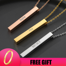 Four Sides Engraving Personalized Square Bar Custom Name Necklace Gold Chain Stainless Steel Pendant Necklace Women/Men Gift BFF