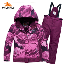 2019 Kids Winter Ski Suit Girls Skiing Jacket Pants 2 Pieces Waterproof Windproof Children Thick Warm Snow Set For Girls Outdoor цены онлайн