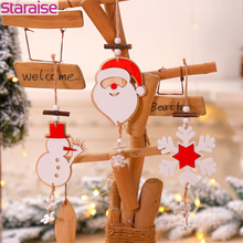 Wooden Christmas Ornaments Santa Claus Snowman Snowflake Pendant Decorations For Home Wood Diy Craft
