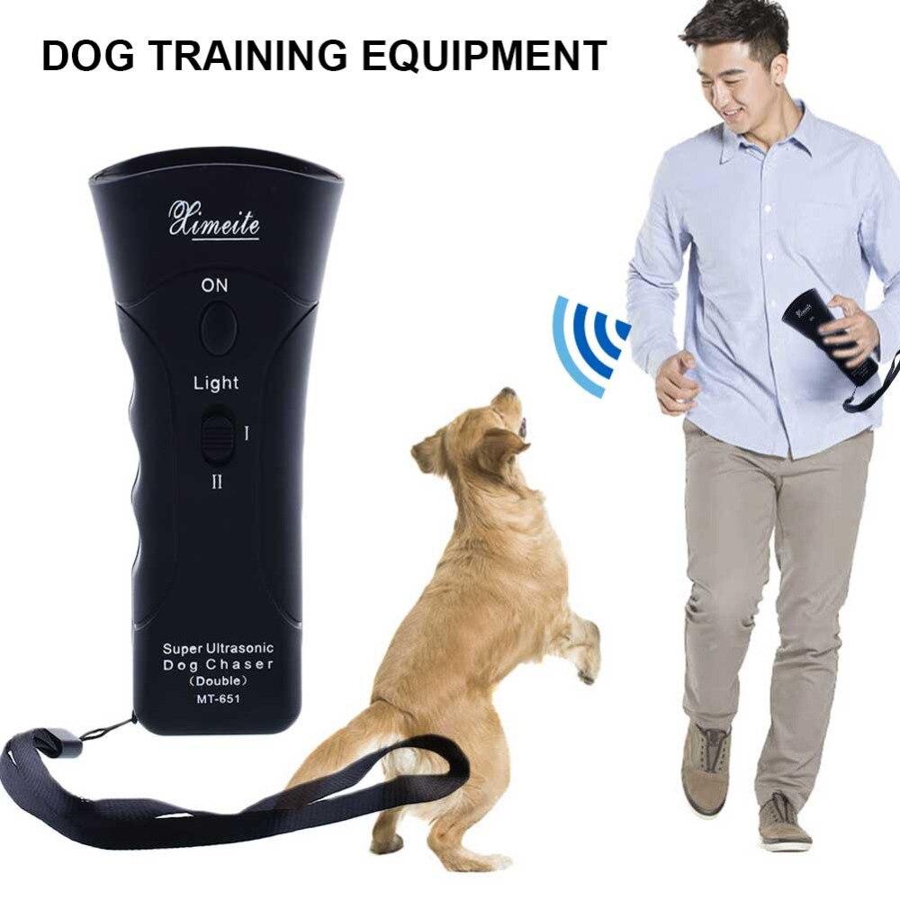 Ultrasonic Aggressive Dog Pet Repeller Trainer Aid Stop Banish LED Flashlight Ki
