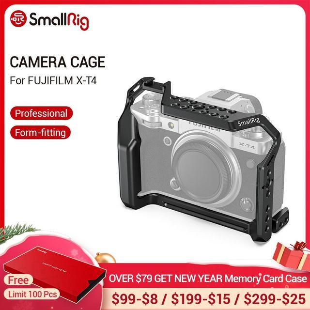 """SmallRig X T4 מצלמה כלוב עבור FUJIFILM X T4 אלומיניום סגסוגת כלוב עם קר נעל הר/נאט""""ו רכבת מצלמה וידאו אבזרים 2808"""