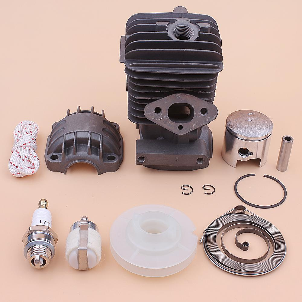 34mm Cylinder Piston Engine Pan Base Kit For Chinese 2500 25cc Recoil Starter Pulley Spring Rope Spark Plug Chainsaw Part