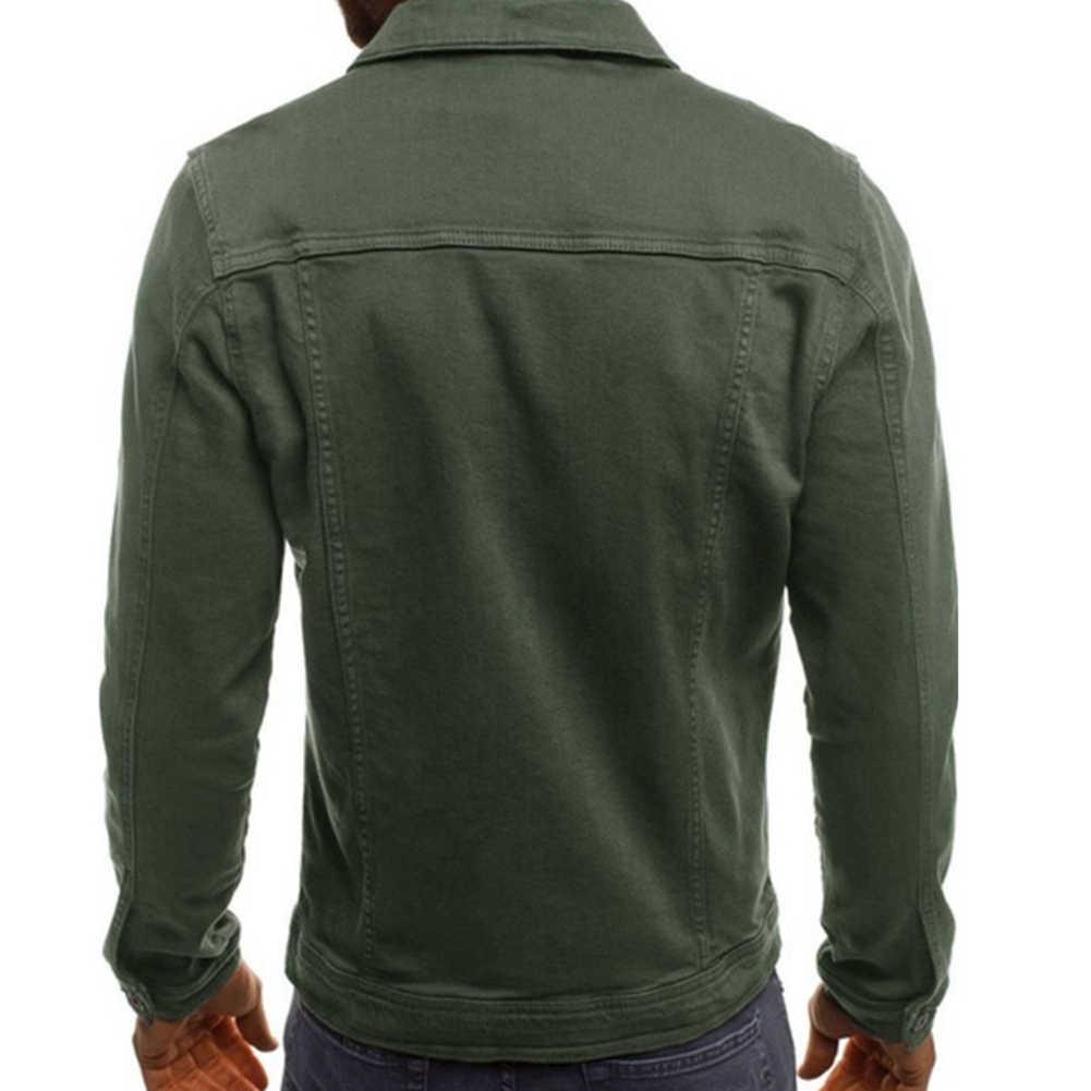 Moda hombre chaquetas y abrigos Color sólido manga larga botón abajo chaquetas con solapa Multi bolsillos Demin chaqueta abrigo hombre