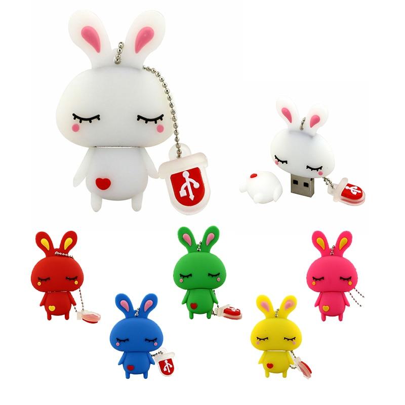Pen Drive Lovely Rabbit Pink White USB Flash Drive 32GB 256GB 128GB 64GB 32 8 Gb Flash Cute Pen-drive USB2.0 Memory Stick U Disk